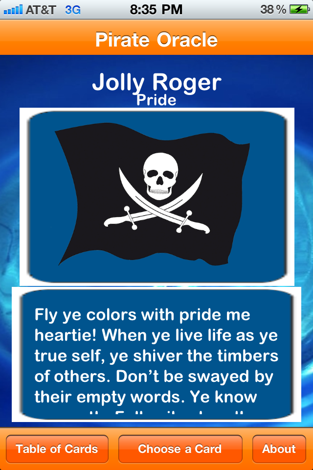 Arrgh. Pirate Oracle be a good way to read ye fortune, me matey. It